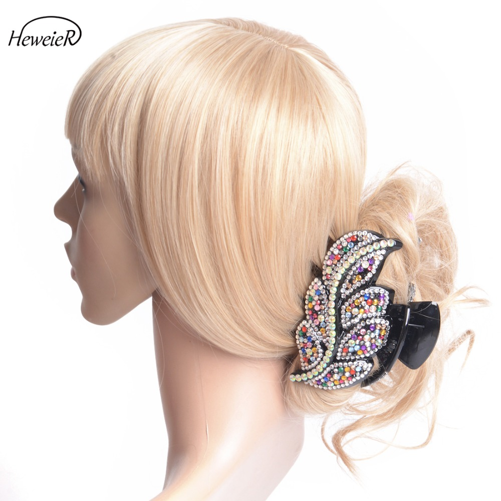 Ladies Women Hair Jewelry Large Plastic Hair Clip Colorful Rhinestone Crystal Stones Claw Clamp Grip Hairpiece Headwear