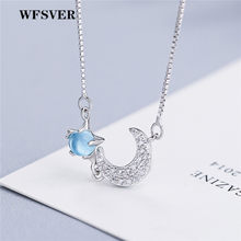WFSVER Women 925 Sterling Silver Jewelry Necklace Bohemian Star Moon Pendant With Blue Stone Necklace Female Fashion Jewelry(China)