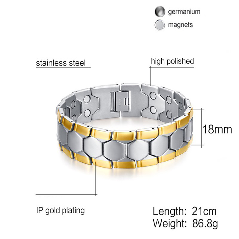 Mens Magnetic Therapy Bracelet Stainless Steel 2 Tone Bio Hypoallergenic Negative Ion Hologram Braslet Bileklik Male Jewelry
