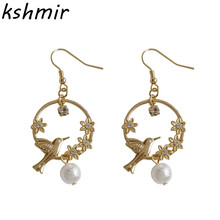 Literary sakura romantic female temperament pearl earrings bird go on spring outing set auger glow earring Exquisite fashion becca glow on the go c pop набор