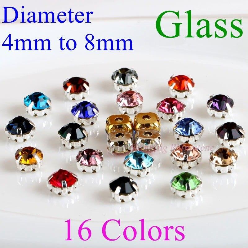 Круглый бокал Стразы с коготь пришить Кристалл Камень Стразы Алмаз металла база Пряжка для одежды 14 цветов выбор