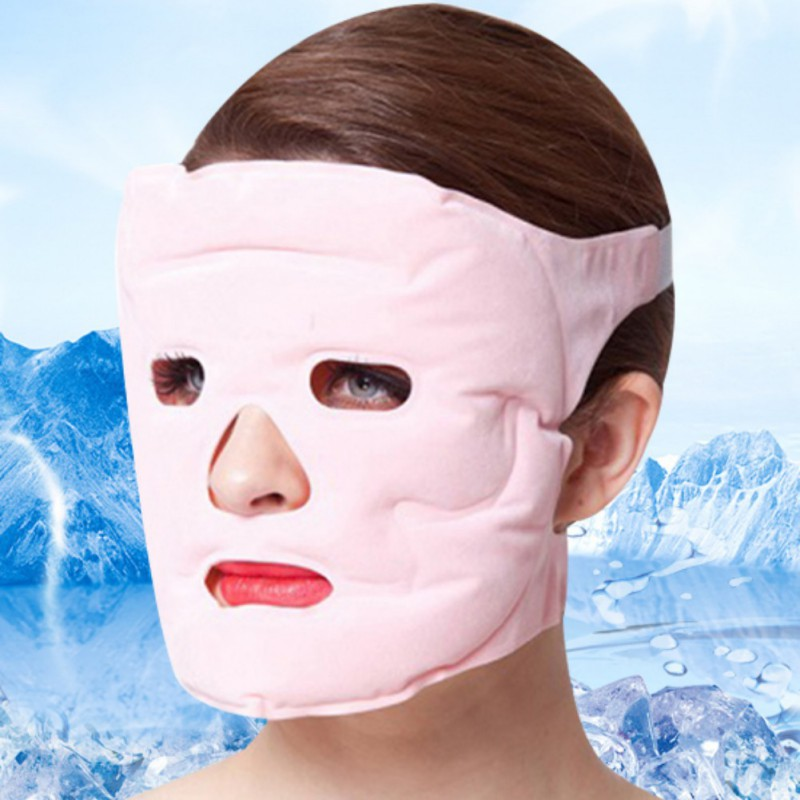2019 Cold Gel Face Mask Ice Compress Blue Full Face Cooling Mask Anti-Fatigue Relief Pad With Cold Pack