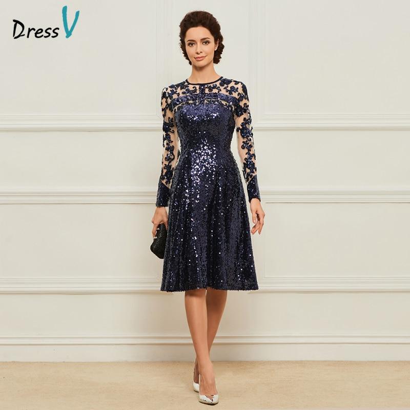 Платье голубое платье для матери невесты, ТРАПЕЦИЕВИДНОЕ ПЛАТЬЕ с глубоким вырезом и аппликацией, украшенное пайетками, длиной до колена, н...