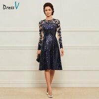 Платье голубое платье для матери невесты, ТРАПЕЦИЕВИДНОЕ ПЛАТЬЕ с глубоким вырезом и аппликацией, украшенное пайетками, длиной до колена, н