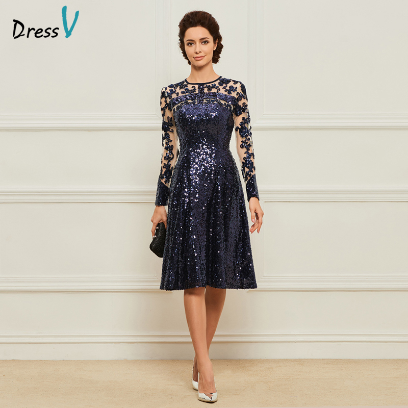 Dressv Blue Mother Of The Bride Dress Scoop Neck A Line Appliques Sequins Knee Length Custom Elegant Mother Of The Bride Dress