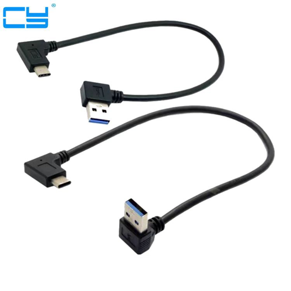 30cm USB 3.1 Type C USB-C Angled to UP& Down& Left& Right Angled 90 Degree A Male Data Cable for Macbook & Tablet & Mobile Phone