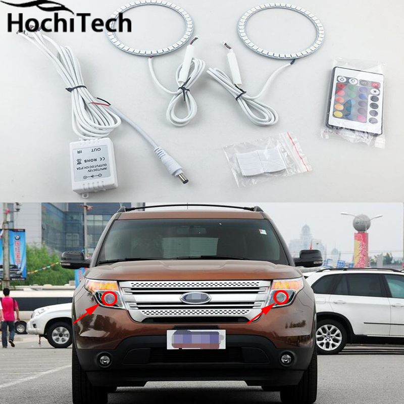 for Ford Explorer 2011 2012 2013 2014 2015 2016 LED perimeter headlight rings halo Multi-color RGB angel demon eyes for fiat linea 2007 208 2009 2010 2011 2012 2013 2014 2015 rgb led headlight rings halo angel demon eyes with remote controller