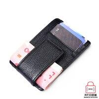Antitheft Mini Wallet Genuine Leather Card Holder RFID Wallet Men Women Purse Credit Card Case Protector
