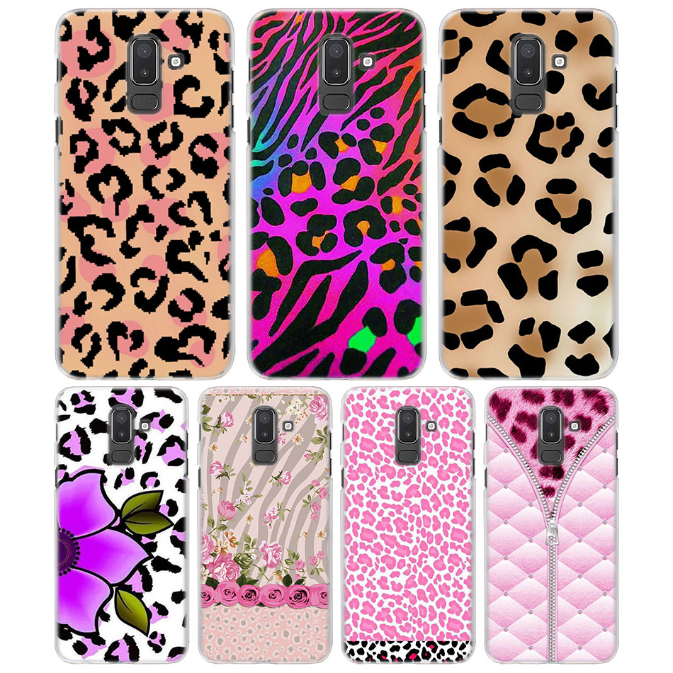 pink leopard seamless Phone Case for Samsung Galaxy J3 J4 J6 J7 J8 2018 J2Core hard PC Case Cover for Galaxy J6 J8 2018 Case