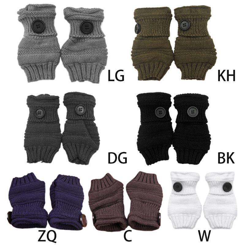 Femmes filles hiver épaissir nervuré tricoté sans doigts gants poignet longueur fil Crochet couleur unie gros bouton décor mitaines Cuf