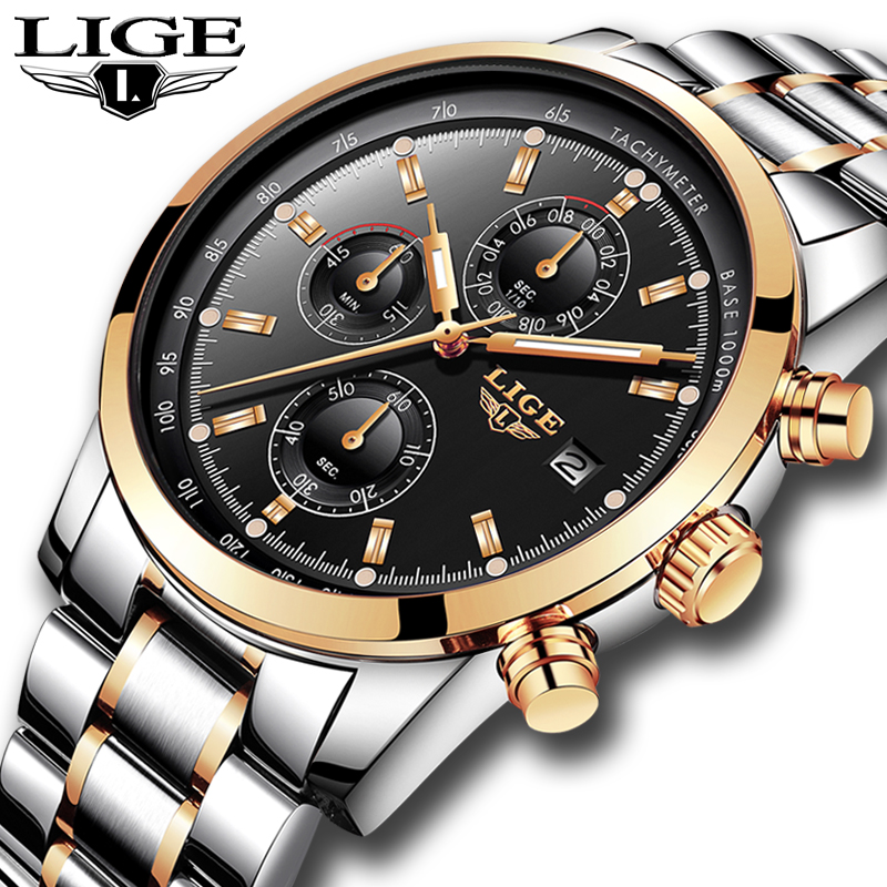 LIGE Relogio Masculino Men Watches Luxury Famous Top Brand Men's Fashion Casual Dress Watch Military Quartz Wristwatches Saat weide fashion casual quartz watch men sport watches famous luxury brand stainless steel military army relogio masculino wh3305
