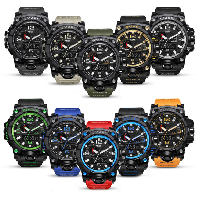 SMAEL Brand Sports Watches Mænd Dual Time Camouflage Military Watch - Mænds ure - Foto 5
