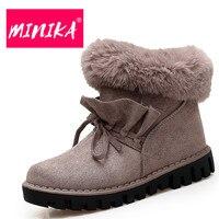 MINIKA Super Warmful Ankle Boots Women Slip On Plush Insole Durable Rubber Women Snow Boots Fashion