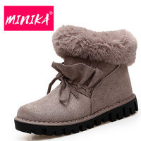 MINIKA Super Warmful Ankle Boots Women Slip On Plush Insole Durable Rubber Women Snow Boots Fashion