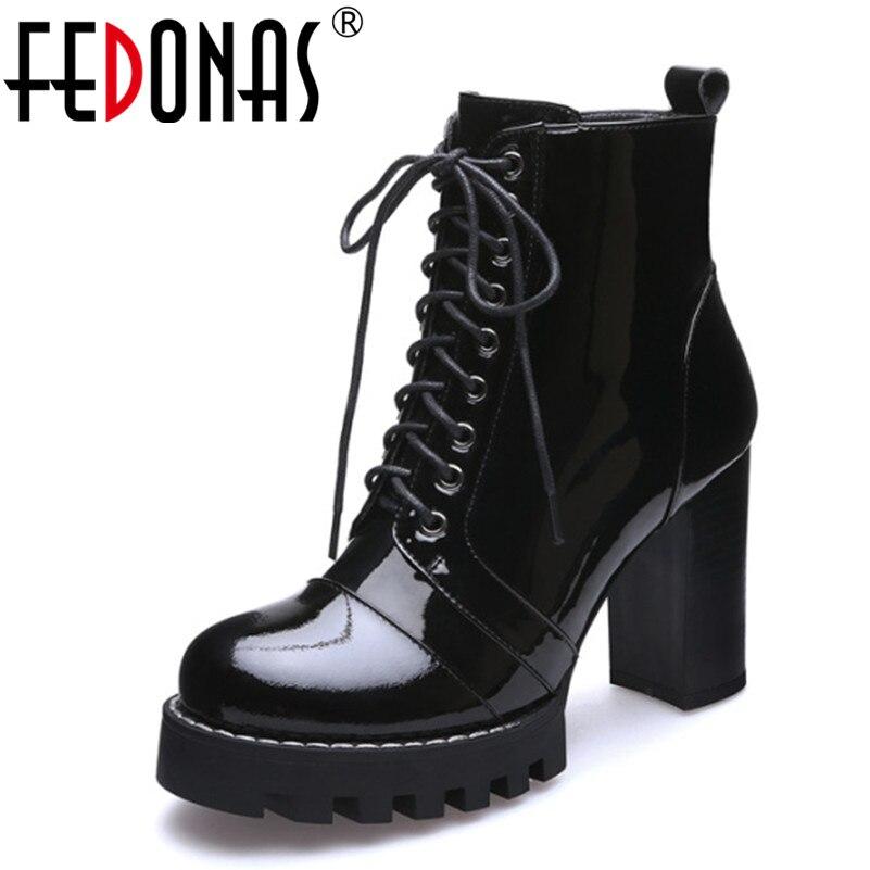 FEDONAS Nouvelle Mode Vache En Cuir Verni Femmes Cheville Bottes Femmes Automne Hiver Véritable Chaussures Femme Plates-Formes En Cuir Martin Bottes