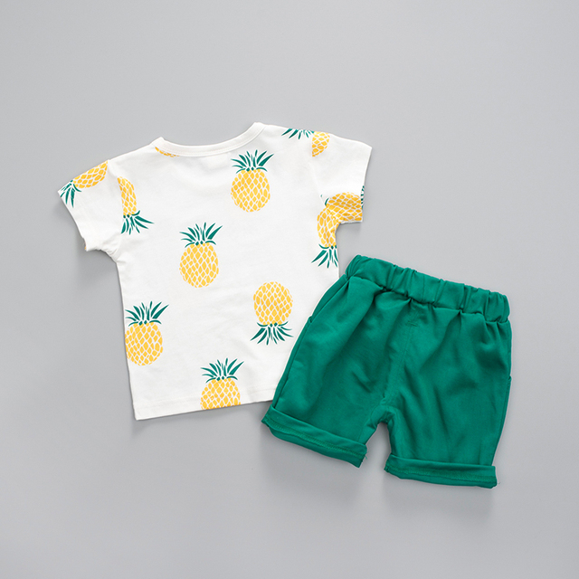 2-Pieces Summer Style Pineapple Logo Print Short Sleeve Top with Pants Set for Baby / Toddler