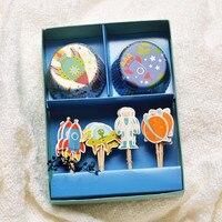 O Envio gratuito de 48 Pçs/set Forros E Coco Do Cupcake Decoração Set Astronauta Para O Pacote da Caixa de Papel de Presente do Menino