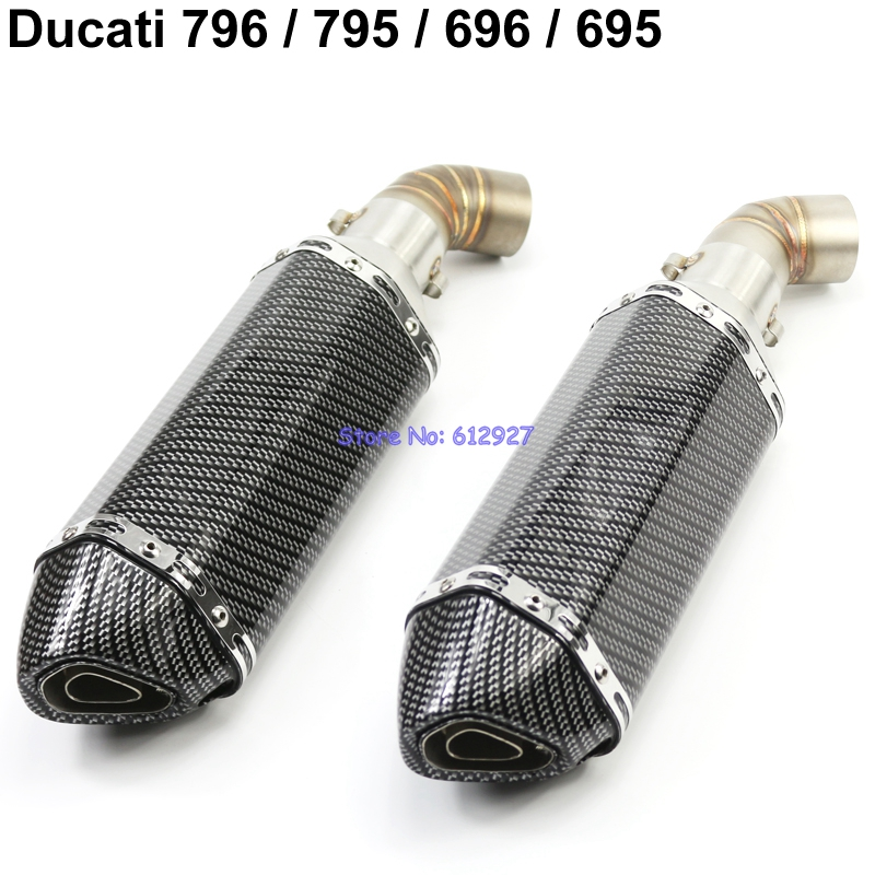 Motorcycle for Ducati 796 / 795 / 696 / 695 Exhaust Pipe System Muffler Escape and Connect Mid Link Pipes Set