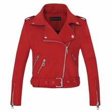 Новое поступление женские осенне-зимние замшевые куртки из искусственной кожи женские модные матовые мотоциклетные пальто Байкерский серый розовый бежевый костюм