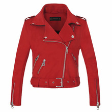 Jackets Coat Biker-Gray Suede Motorcycle Faux-Leather Pink Winter Women Fashion Arrial