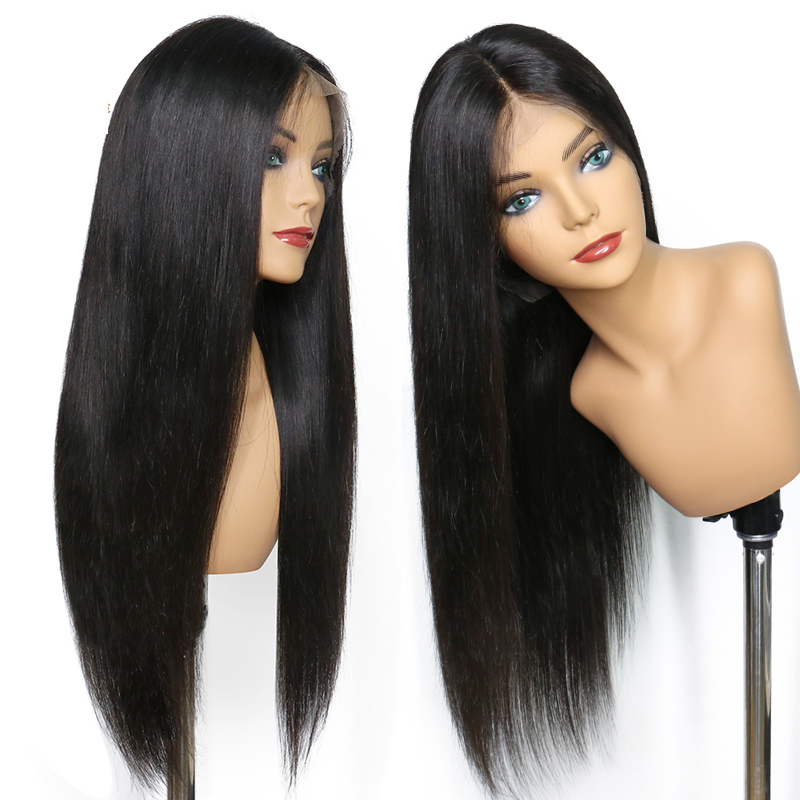 LUFFYHAIR Brazilian 13x6 Straight Lace Front Wig Glueless Remy Human Hair Lace Front Wigs For Black