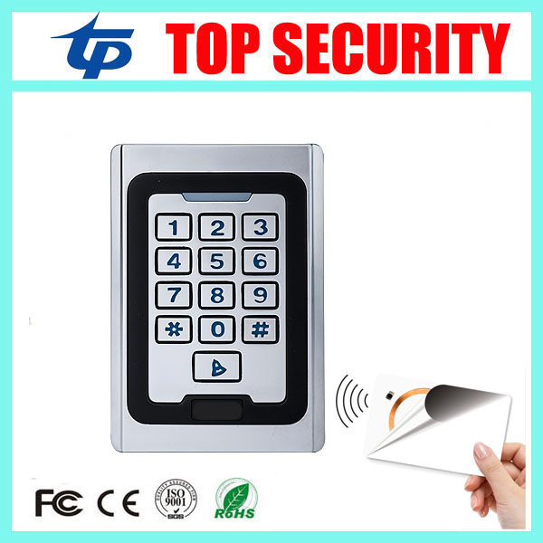 LED keypad surface waterproof door access control system single door 13.56MHZ MF IC card smart card access control reader outdoor mf 13 56mhz weigand 26 door access control rfid card reader with two led lights