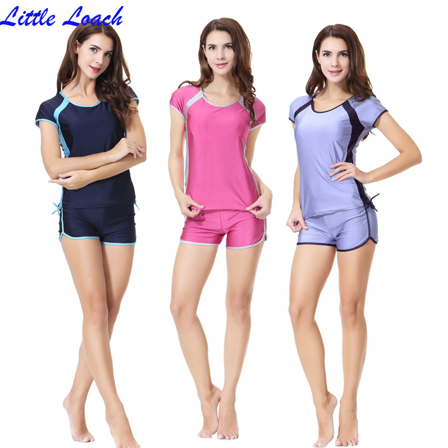 Hot Modest Islamic Swimwear Islamic Swimsuit Women hijab Lace-up Short Sleeve Flat Shorts Round Neck Muslim Swimming Beachwear цена и фото