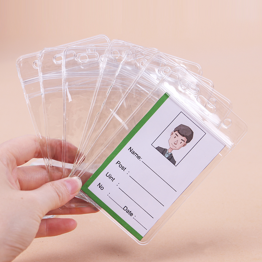 10PCS PVC ID Badge Case Clear With Transparent Card Badge Card Badge Holder Office Stationery Supplies