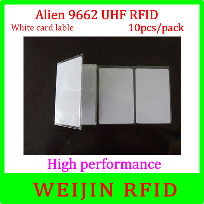 UHF RFID Card Alien authoried 9662 860-960MHZ 10 pcs per pack Alien Higgs3 915M EPC 54x86x0.9mm PVC card free shipping.