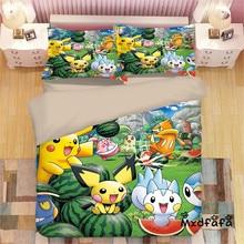 Mxdfafa Anime Pokemon duvet cover Set Cartoon Bedding Sets Luxury Duvet Cover sets 3pcs Include 1 and 2 pillowcases