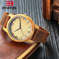 Venta caliente De Madera Del Reloj de Japón MIYOTA 2035 movimiento de Cuarzo Reloj de Pulsera Pareja Relojes Con correa de Cuero Genuino Caso de Bambú Para Hombres Mujeres