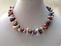 13-18 мм смешанный цвет TWIN барокко Freeform Самородок пресноводного жемчуга нагрудное ожерелье