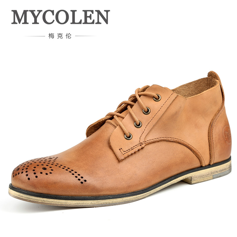 MYCOLEN The New Listing MenS Black Boots Solid Luxury Brand Winter Lace-Up Mid-Calf Riding Shoes MenS Boots LeatherMYCOLEN The New Listing MenS Black Boots Solid Luxury Brand Winter Lace-Up Mid-Calf Riding Shoes MenS Boots Leather