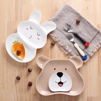 Children's plate, compartment, cartoon ceramic plate household dish cute baby dinner plate cutlery set