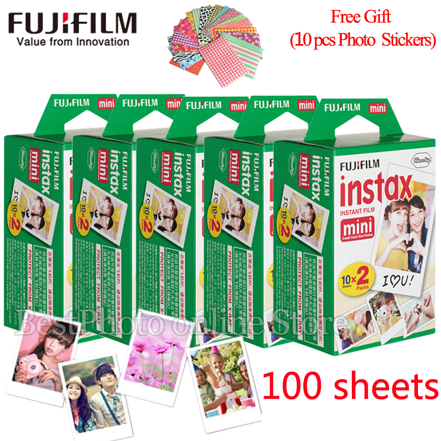 Fujifilm Fuji instax mini 8 film 100 sheets instsnt photo +Free Gift Photo Stickers for mini 8 7s 25 50s 90 Instant Camera Paper fujifilm instax mini 8 instant film photo camera 10 sheets films 3 inch hang photo favorites 5 pcs photo corner stickers