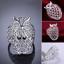 925 Sterling Silver fashion personality simple and elegant Rings Owl Hollow ring R541