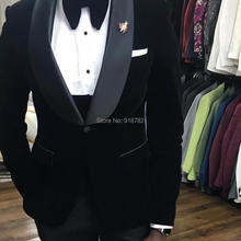 Костюм Homme дизайнерский формальный смокинг 3 шт. шаль нагрудные свадебные костюмы для мужчин черный бархатный мужской костюм жениха