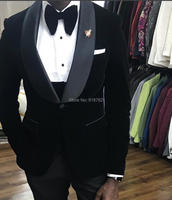 Costume Homme 2018 Designer Formal Tuxedo 3 Piece Shawl Lapel Wedding Suits For Men Black Velvet Men Suit Groom Suit