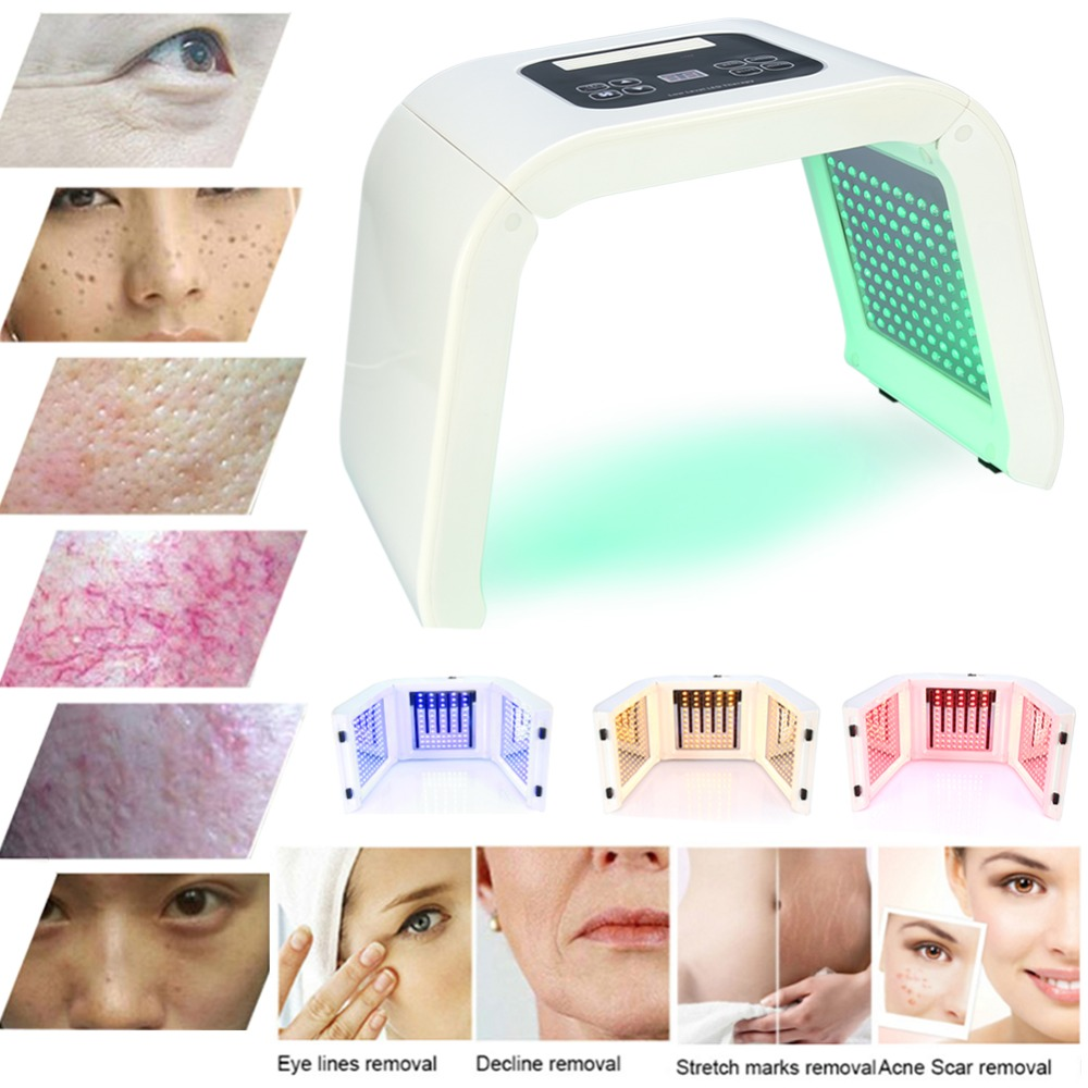 4Color LED Photon Light Therapy Beauty Machine PDT Lamp Treatment Skin Regeneration Tighten Facial Acne Remover Anti-wrinkle Spa