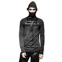 Steampunk Men PU Leather Loop T Shirts Stylish Plain Hooded T shirt Lacing Design Black Tee Tops