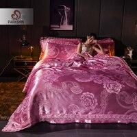 ParkShin Luxury Bed Linen Euro Set Bedspread Double Queen Jacquard Tencel Silk Bedspread Cotton Bed Flat Sheet Duvet Cover Set