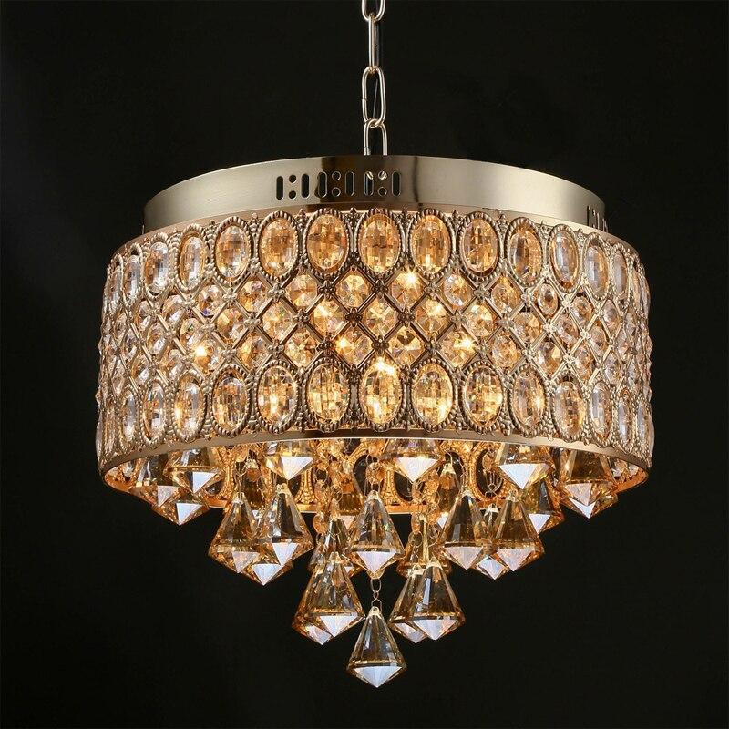Modern Round Luxury Crystal Pendant Lamp E14 European Style Metal Suspension Light Fixture