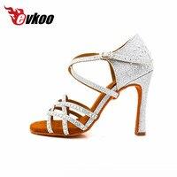 8 5 Cm High Heel Woman Latin Dance Shoes Satin With Diamond Design Black And Brown