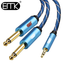 лучшая цена EMK 3.5mm to 2 6.35mm1/4in Aux audio Cable Speaker dual 6.35 Jack to 3.5 Male to Male 1m 1.5m 2m 3m 5m Phone MP3 Amplifier