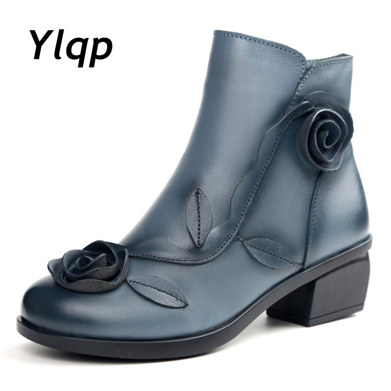2018 New Autumn Winter Flower Square Heels Round Toe Shoes Genuine Leather Women Boots Side Zipper Women Ankle Boots botas