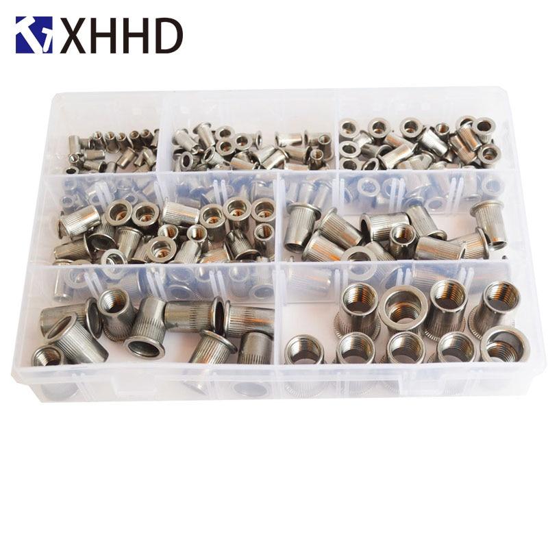 Image 2 - 304Stainless Steel Flat Head Rivet Nut Metric Thread Nutsert Insert Nut RivetingSet Assortment Kit Box M3 M4 M5 M6 M8 M10 M12-in Nuts from Home Improvement