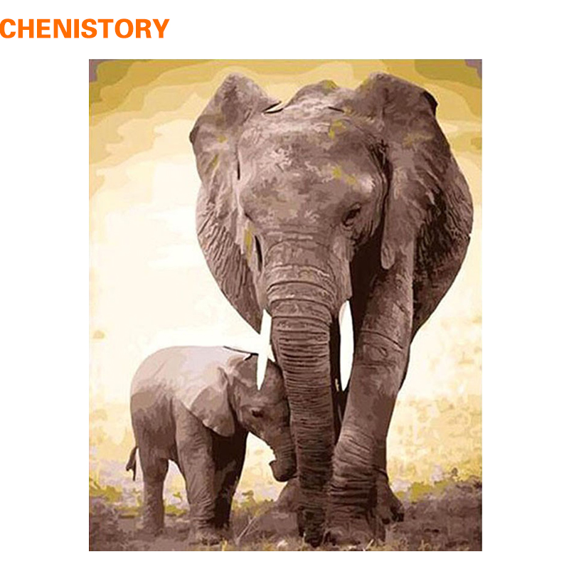 CHENISTORY DIY Digital Oil Painting By Numbers Kits Coloring Painting By Numbers Unique Gift For Home Decoration Elephant 40x50