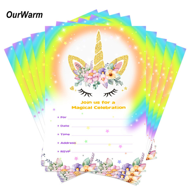OurWarm 10pcs Unicorn Party Birthday Invitations Cards With Envelopes Kids Thank You