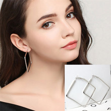 Big Square Star Heart Hoop Earrings For Women Brincos Rose Gold Silver Color Statement Jewelry Hexagon Circle Geometric Earring(China)