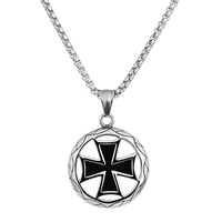 Stainless Steel Necklace With Pharaoh Circle Shape Cross Inside Pendant For Women Fashion Jewelry Accessory